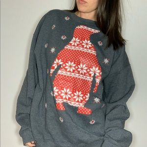 Tops - Christmas Penguin Sweatshirt Unisex Oversized